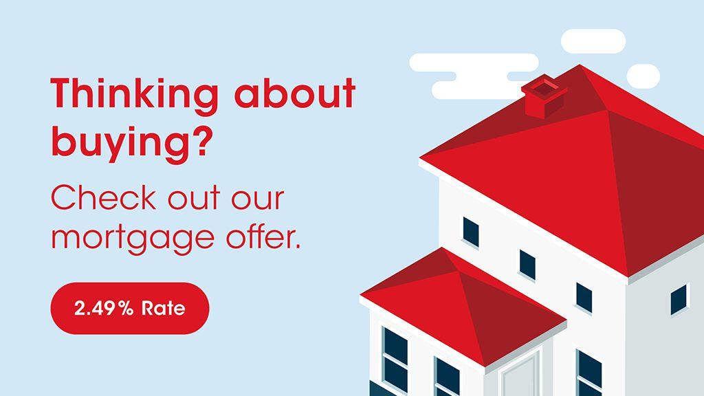Banking digital signage promoting mortgages