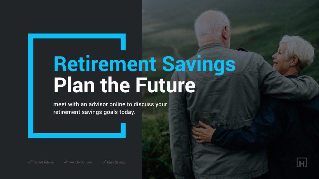 DIgital signage for banking promoting retirement savings