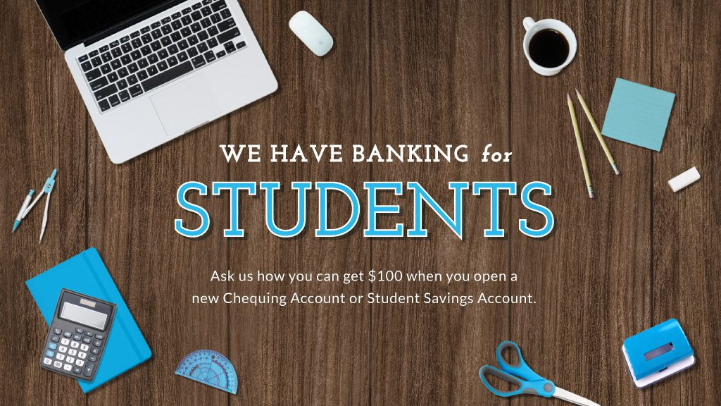 Student savings accounts being advertised on a bank's digital signage