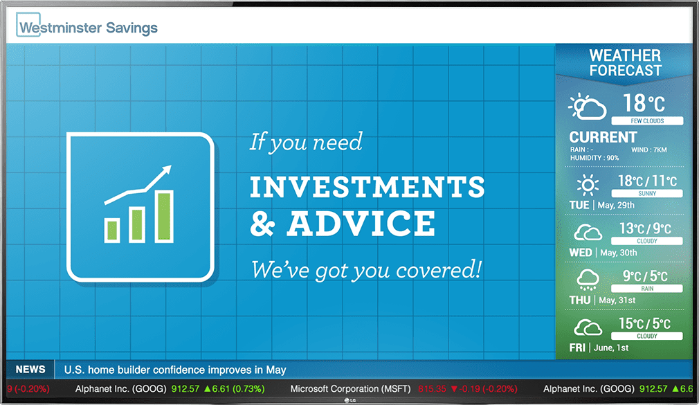 Banking digital signage about investment advising