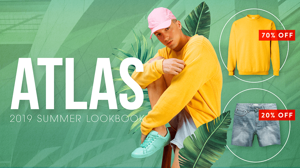 sale signage of green summer look with a guy in yellow shirt and jean shorts