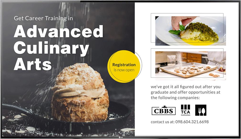 Culinary Arts Education Digital Signage