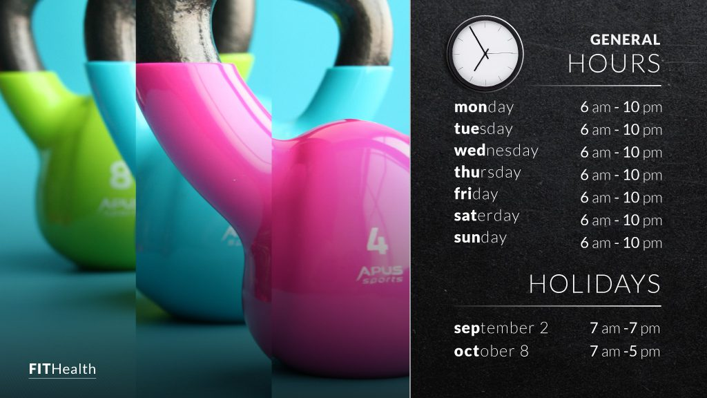 Gym hours digital signage