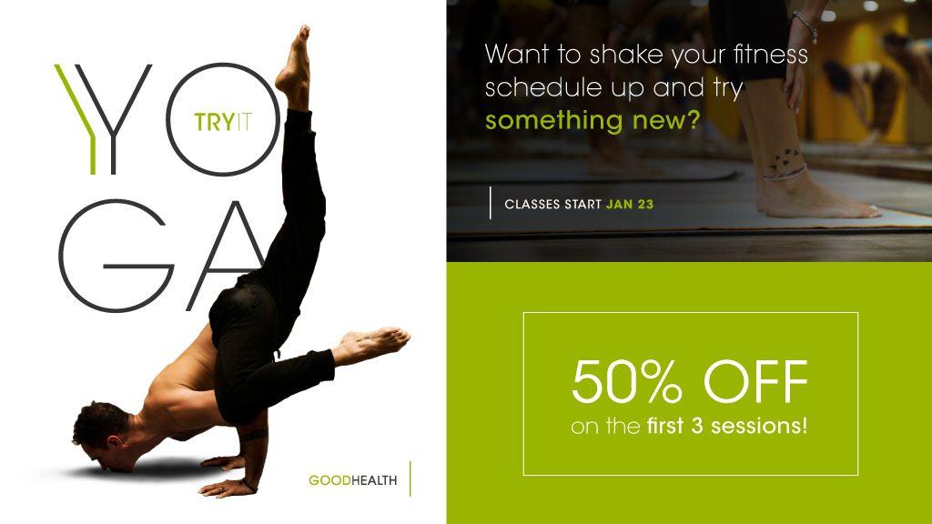 Yoga advertisement digital signage