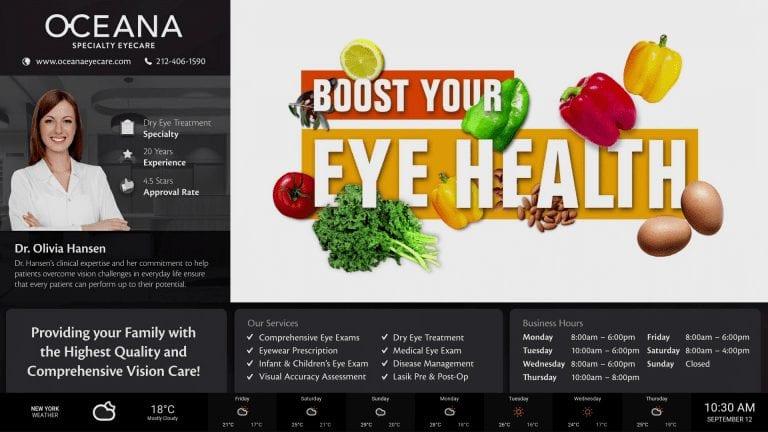 optometry health tips digital signage