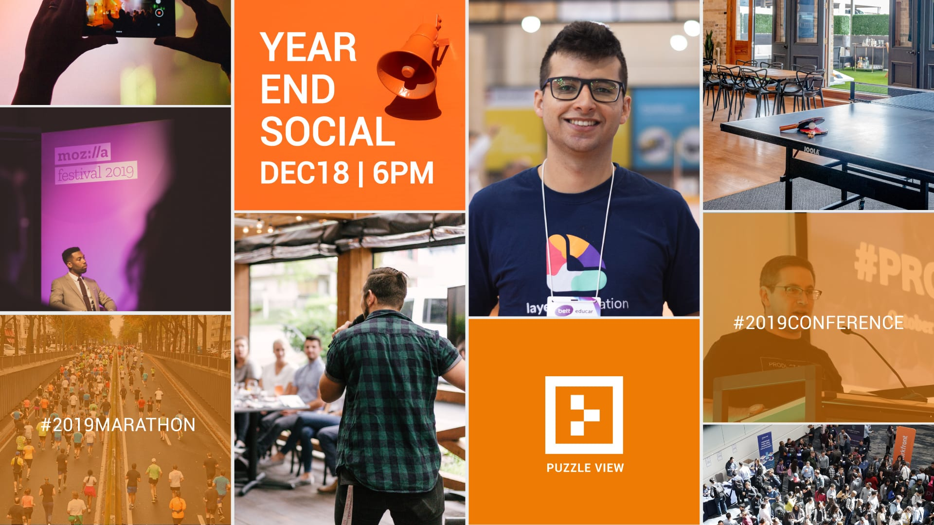 year end social, company events and other images in collage