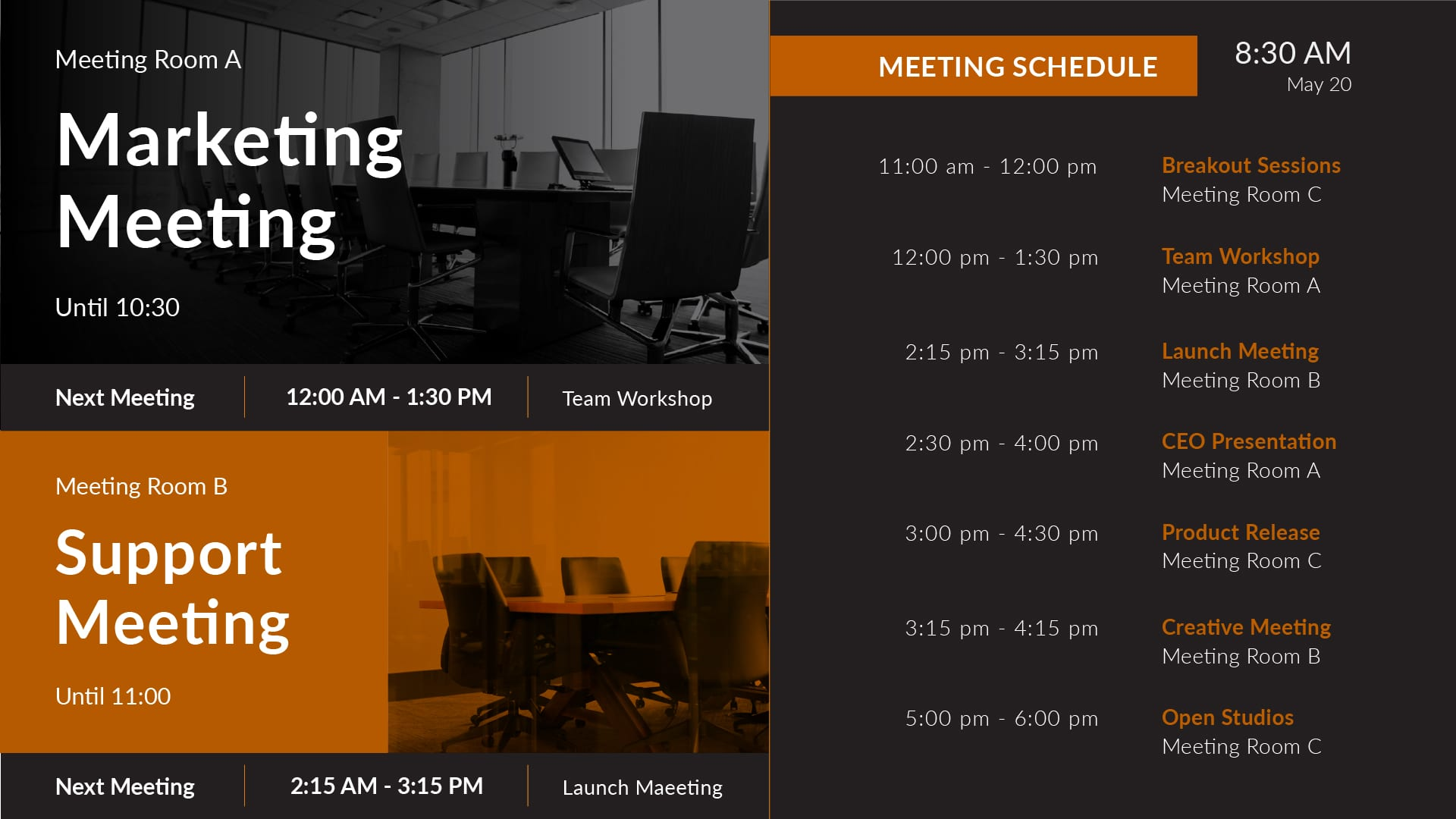meeting room schedule and occupied rooms
