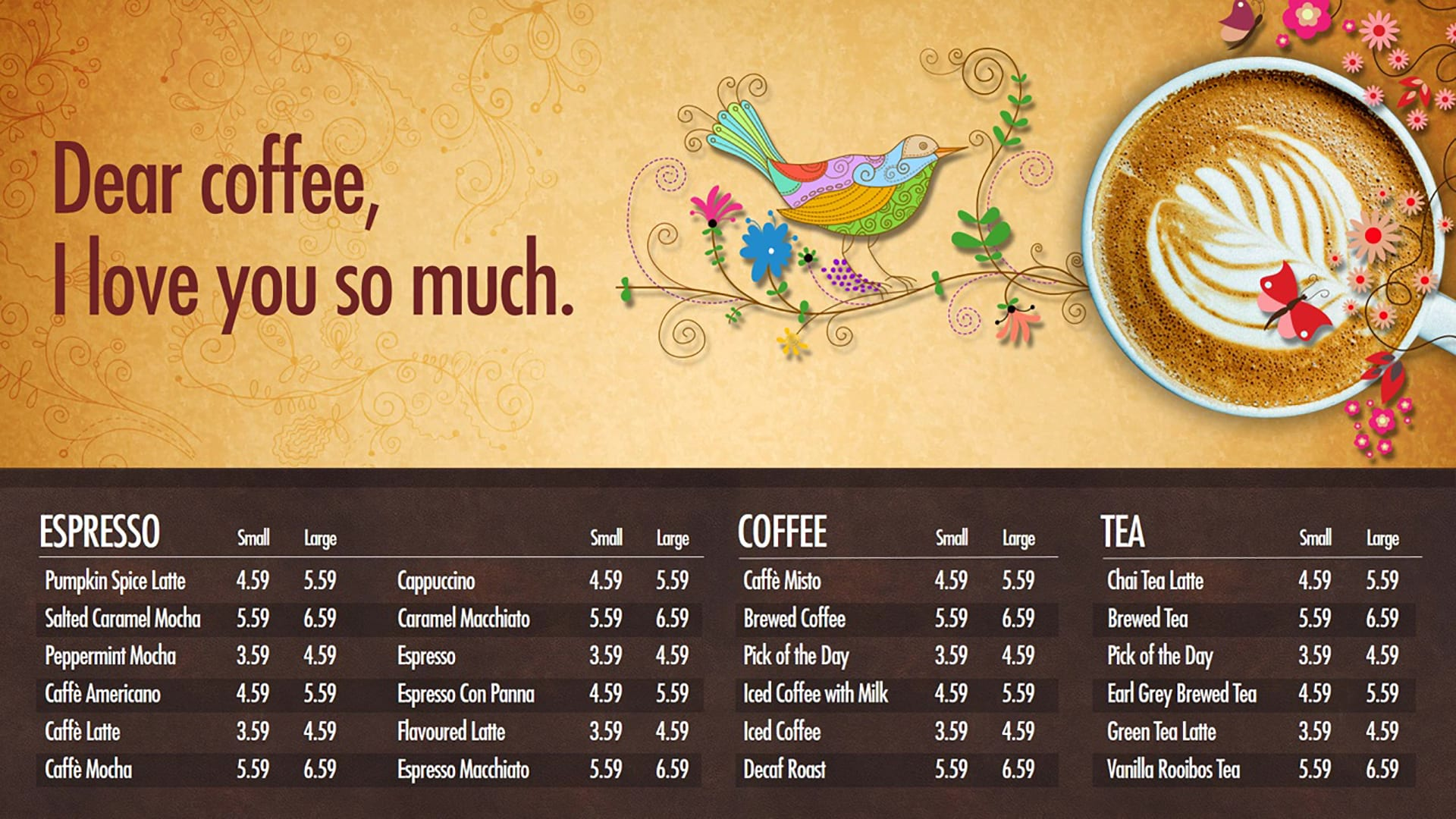 coffee menu cafeteria