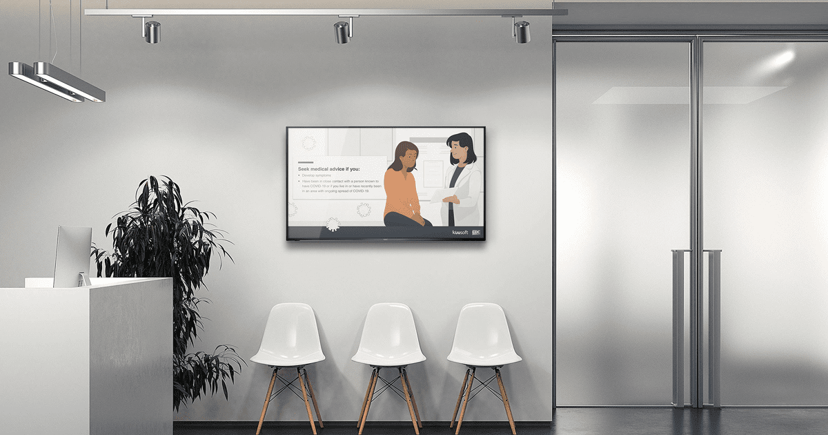 patient waiting room with healthcare digital signage