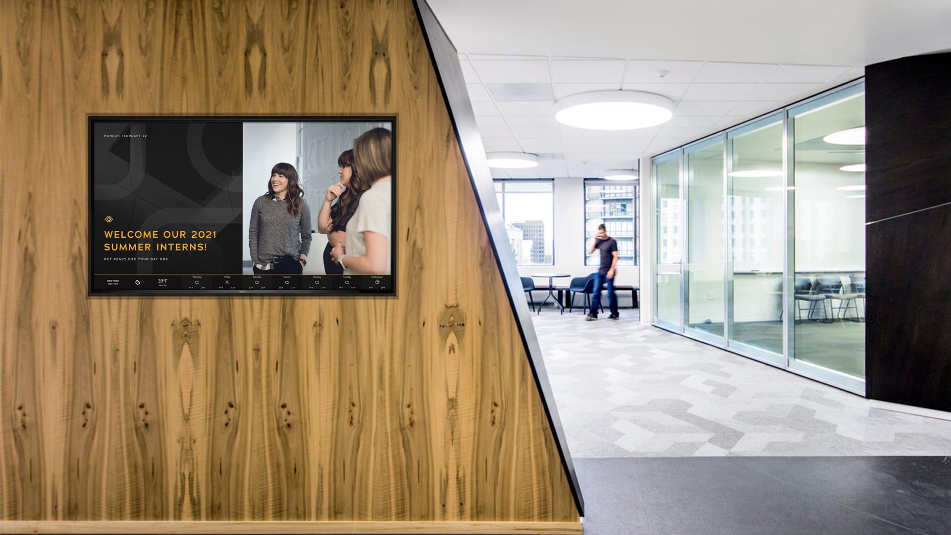 Office Lobby greeting digital signage