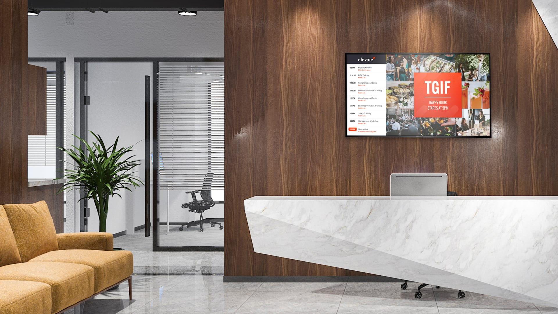 Office Lobby digital signage communication