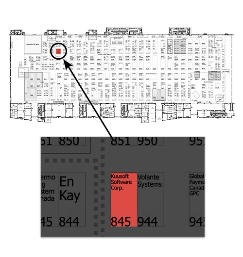 Floor map of Restaurants Canada Show 2019 with Kuusoft's booth, #845, highlighted